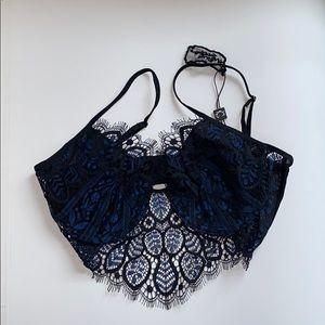 For love and lemons navy black underwire bra
